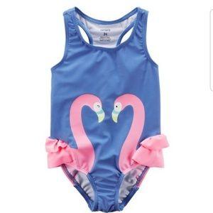 EUC Carter's Pink Flamingo Ruffle Swimsuit